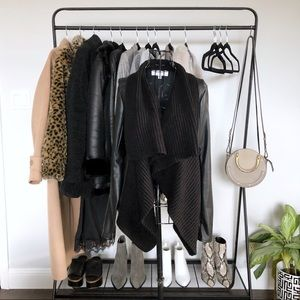 Leather Jacket with Knit Waterfall Drape Front